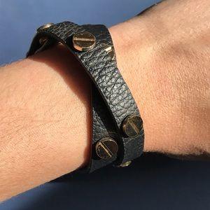 GAP black leather wrap bracelet
